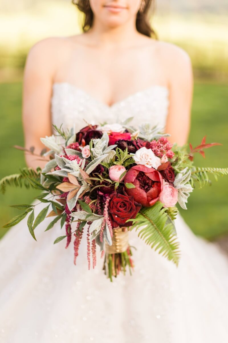 Gorgeous Marsala Bridal Bouquet. #bridalbouquet #localflowers #slowflowers #americangrownflowers #sweetcheekswinery #heathermillsphotography #hardcoreflorist